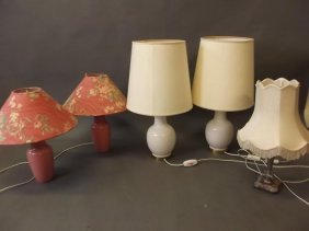 A Pair Of White Porcelain Table Lamps And Shades,