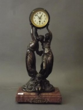 A Large Globe Mantle Clock After August Moreau, With