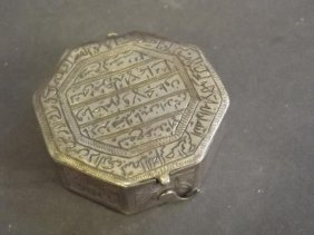A Persian Low-grade Silver Hexagonal Shaped Trinket