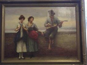 Eugene, Oil On Canvas, Musician Serenading Two Women,