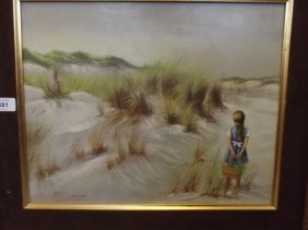 A Spanish Oil On Board, Beach Scene With A Girl In A
