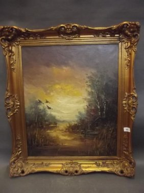 A Dutch Oil On Canvas, Rural Landscape With Ducks In