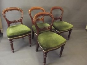 A Set Of Four Victorian Mahogany Dining Chairs With
