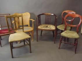 An Edwardian Inlaid Mahogany Side Chair, A Cane Backed
