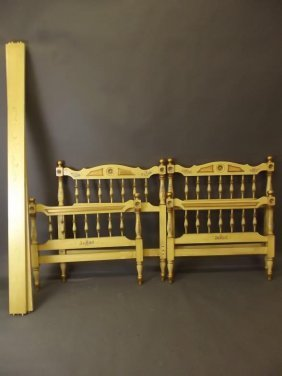 A Pair Of Italian Painted And Parcel Gilt Single Beds