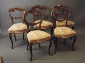 A Harlequin Set Of Five Victorian Rosewood Balloon Back