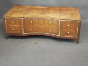 An Art Deco Figured Walnut Shaped Front Dressing Table