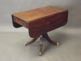 A C19th Mahogany Drop Leaf Pembroke Table With End