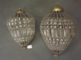 A Pendant Ceiling Light With Perspex Lustres, And