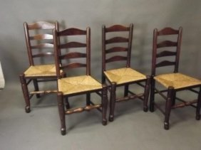 A Set Of Four C19th Ash Lancashire Ladder Back Chairs