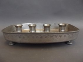 A C19th French Pewter Four Branch Candle Holder Of