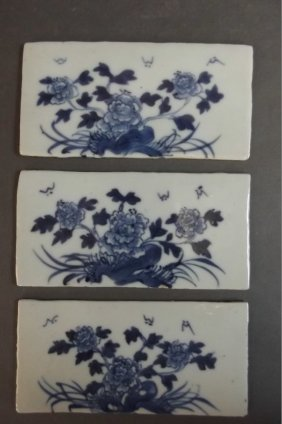 Three Chinese Blue And White Porcelain Tiles Decorated