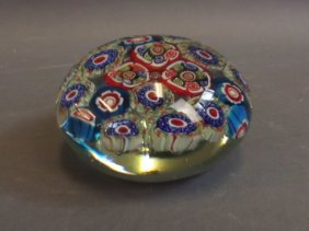 "A Millefiori Glass Paperweight, 4"" Diameter"