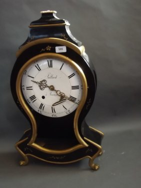 A French Ebonised And Gilt Bracket Clock Case With An