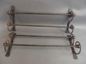 """A Pair Of C19th Wrought Iron Double Towel Rails, 26"""""""