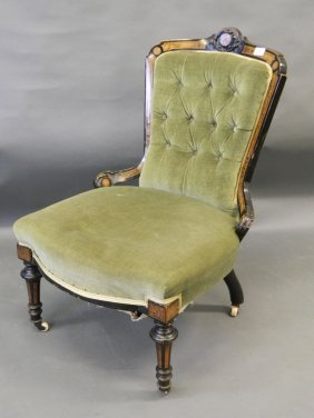 A C19th Aesthetic Style Parlour Chair With Carved And
