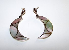 Sterling Silver Mother Of Pearl Half Moon Earirngs