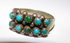 Old Pawn Zuni Sterling Turquoise Ring 6.5