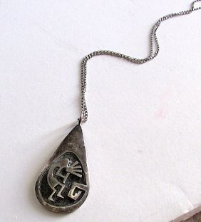 Old Pawn Sterling Hopi Kokopelli Necklace