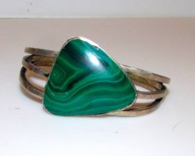 Taxco Sterling Pre Eagle Malachite Bracelet