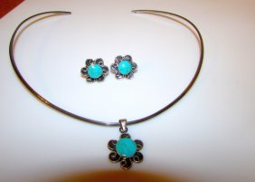Mexican Taxco Sterling Turuqoise Earrings Necklace Set