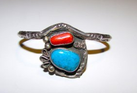 Old Pawn Sterling Navajo Turquoise Coral Cuff Bracelet