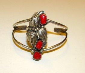 Old Pawn Navajo Sterling Coral Bracelet
