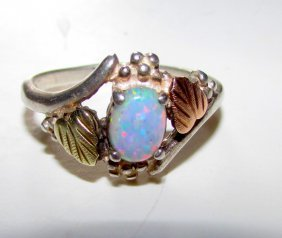Navajo Sterling 12k Gold Fire Opal Ring Size 8