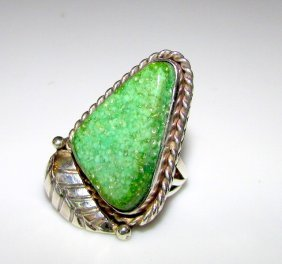 Old Pawn Sterling Carico Turquoise Navajo Ring 6