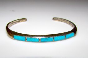 Old Pawn Zuni Sterling Turquoise Cuff Bracelet