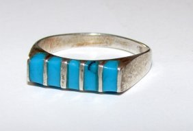 Zuni Sterling Sivler Turquoise Inlay Ring 5.5