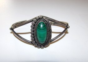 Old Pawn Sterling Malachite Navajo Cuff