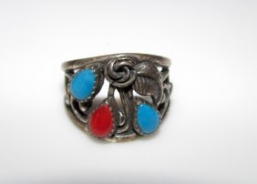Old Pawn Zuni Sterling Turquoise Coral Ring 6