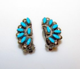 Old Pawn Sterling Turquoise Zuni Clip On Earrings