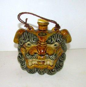 Vintage Asian Oriental Foo Dog Glazed Decanter