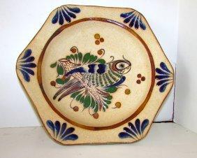 Vintage Mexican Tonala Parrot Bird Design Large Platter