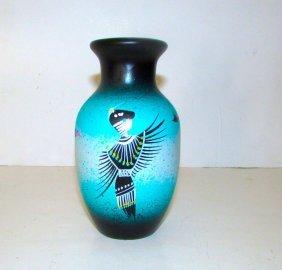 Navajo Native American Black Kachina Dancer Pottery