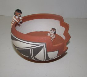 Vintage Acoma Pueblo Friendship Bowl Olla Pottery