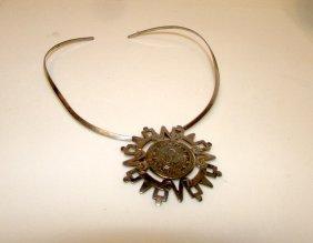 Vintage Mayan Calendar Taxco Mexican 925 Necklace