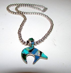 Navajo Tsf Sterling Turquoise Opal Lapis Bear Necklace