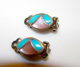 Old Pawn Native Zuni Sterling Turquoise Earrings
