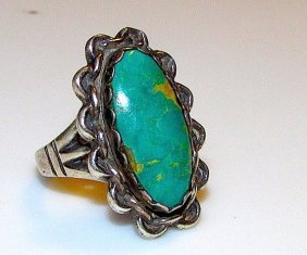 Vintage Old Pawn Navajo Sterling Turquoise Ring