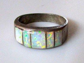 Native American Navajo Sterling Silver Opal Inlay Ring
