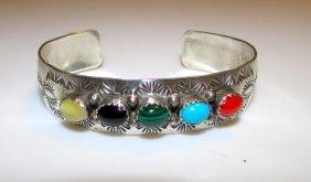 Navajo J Bahe Sterling Silver Turquoise Coral Bracelet
