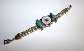Vintage Native American Sterling Silver Turquoise