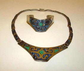 Vintage Taxco Mexican Sterling 925 Turquoise Set