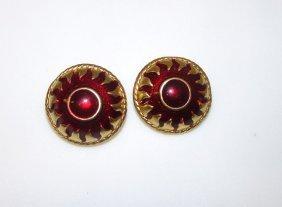 Vintage Gold Tone Red Enamel Mod Sun Design Clip On
