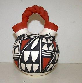 Native American Acoma Pueblo Wedding Vase Pottery