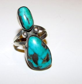Old Pawn Navajo Sterling Turquoise Ring Size 7