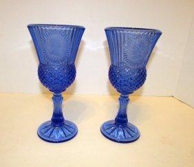 Blue Fostoria Glass Cameo Glasses